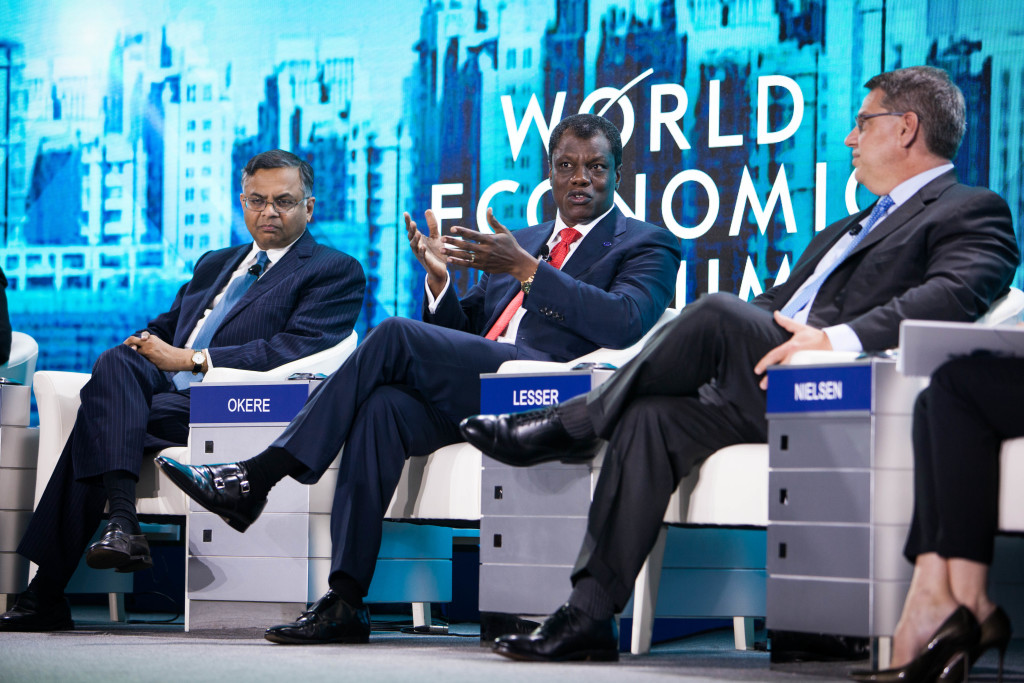 Mr. Okere Speaking at WEF alongside Rich Lesser, global CEO & President of the Boston Consulting Group, Natarajan Chandrasekaran, CEO of Tata Consultancy Services, Mitchell Baker, Executive Chairwoman of the Mozilla Foundation, and Maurice Levy, Chairman and CEO of the Publicis Groupe