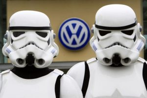 Greenpeace stormtroopers target VW at their head office in Milton Keynes. Volkswagen is using its huge political muscle to lobby against key environmental laws.